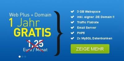 """Webhosting: 3 GB 1 Jahr lang kostenlos + .de-Domain gratis """"Immer noch möglich"""""""