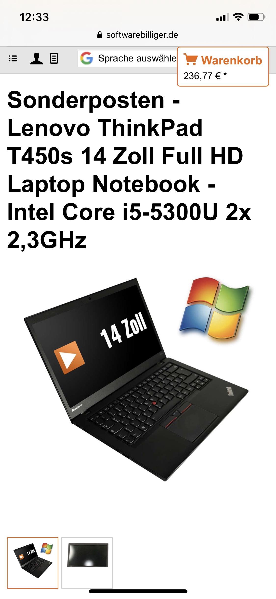 LENOVO T450s ULTRABOOK FULL HD i5 5te Gen 2,3GHz 8GB 256GB SSD B WARE