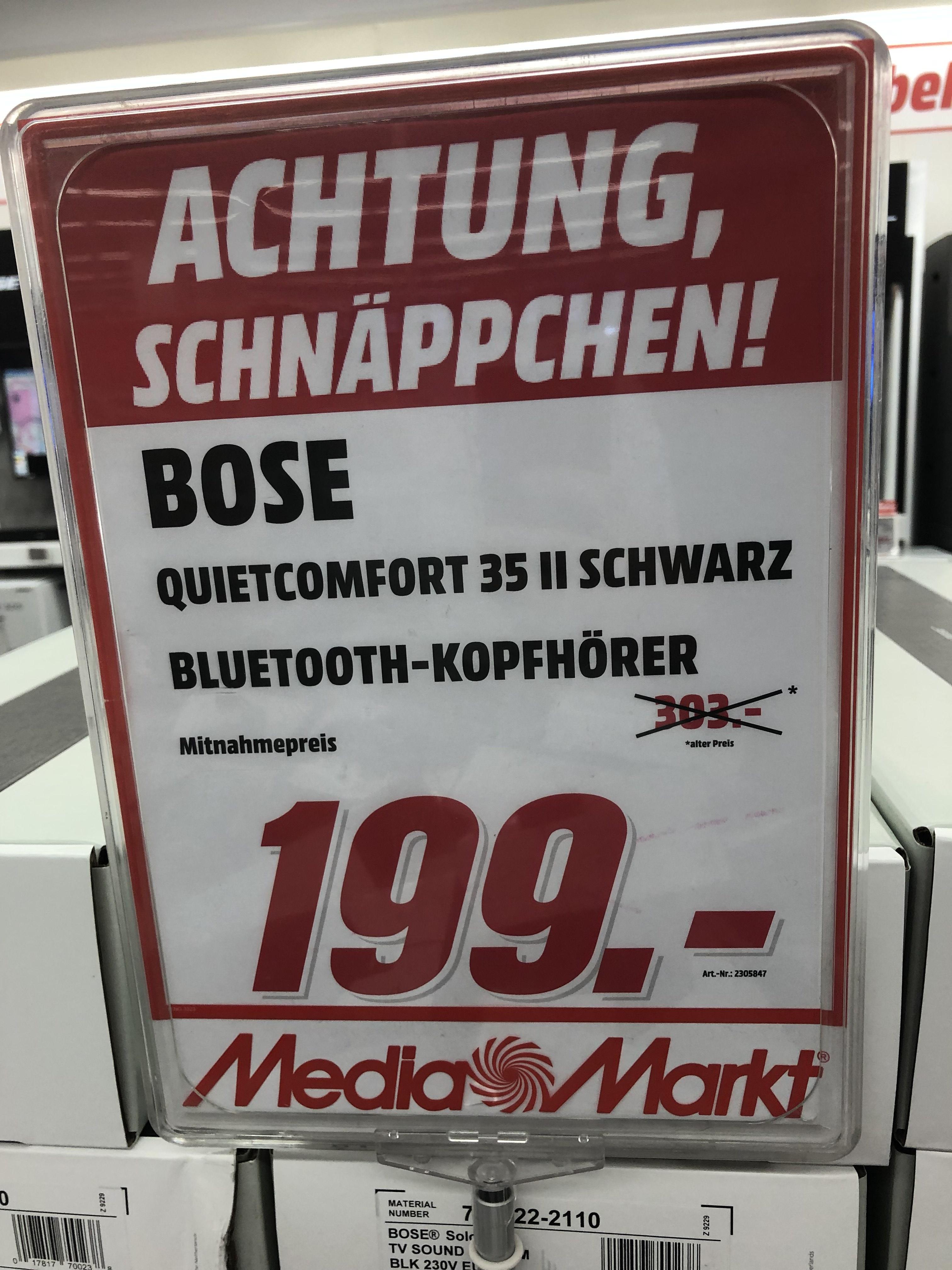 Lokal MediaMarkt Frankfurt MTZ: Bose Quietcomfort 35 II Schwarz Bluetooth Kopfhörer
