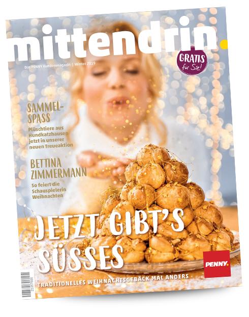 """3€ Rabatt ab 20€ bei Penny durch kostenloses Kundenmagazin """"mittendrin"""" (an der Kasse erhältlich, vom 25.11. bis 15.12. einlösbar)"""