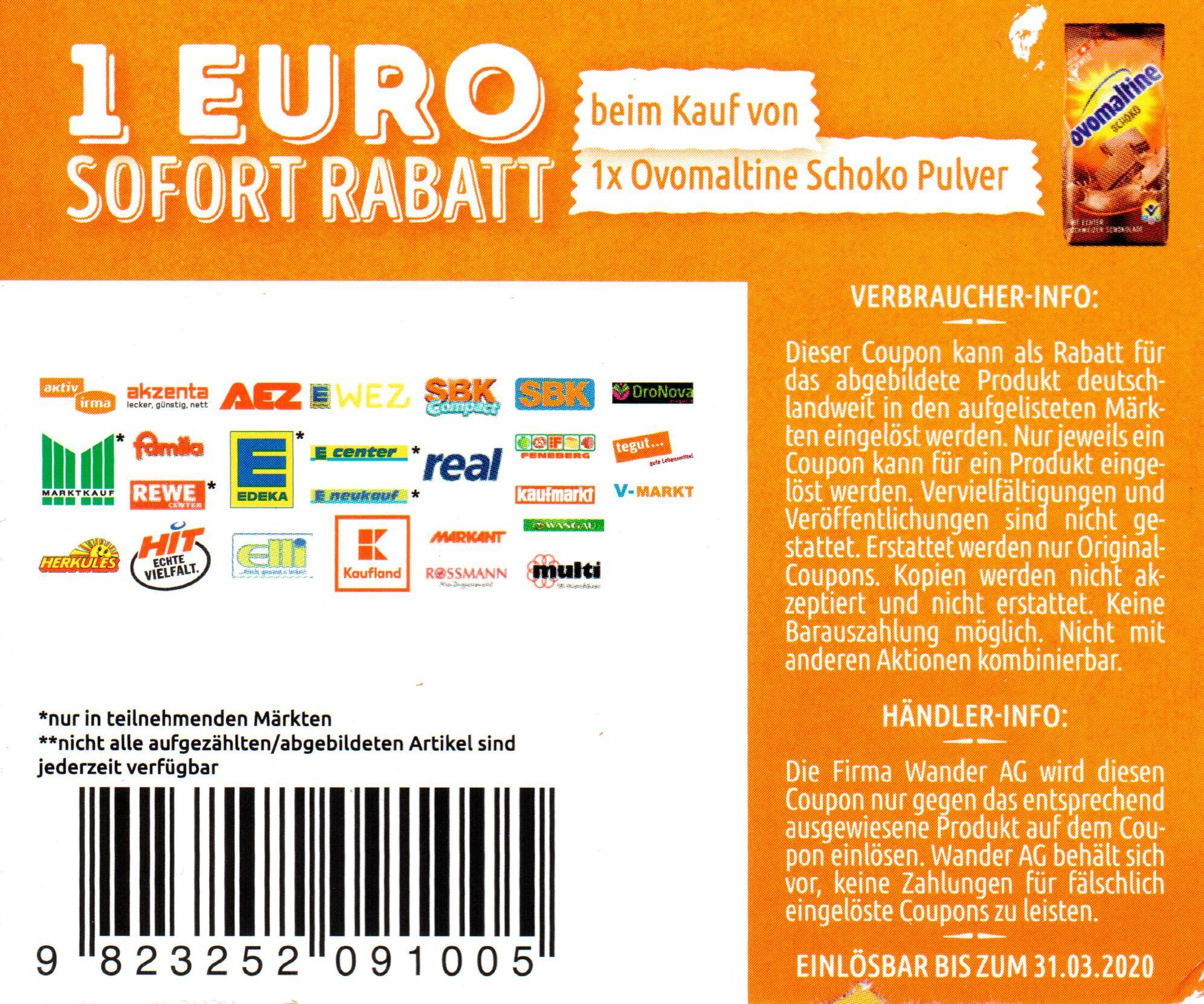 1€ Coupon für den Kauf von Ovomaltine Schoko Pulver oder Crunchy Cream bis 31.03.2020