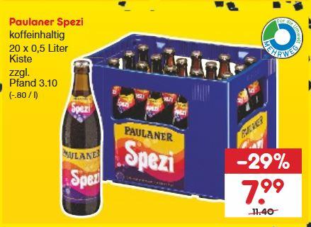 Paulaner Spezi, 20 x 0,5l für 7,99 € (+ 3,10€ Pfand) Netto-MD ab 25.11. (in Hessen für 6,39€ möglich)
