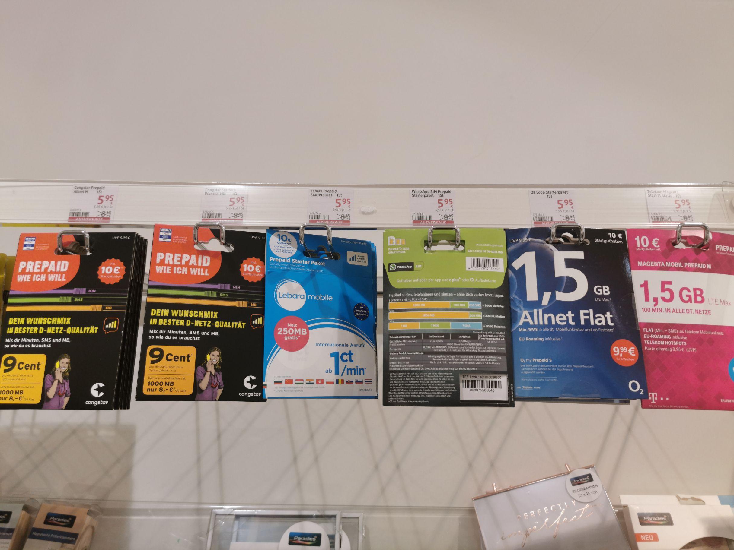 (Lokal? ) dm Ulm 89077 - diverse Prepaidsimkarten inkl. Startguthaben im Angebot solange der Vorrat reicht.