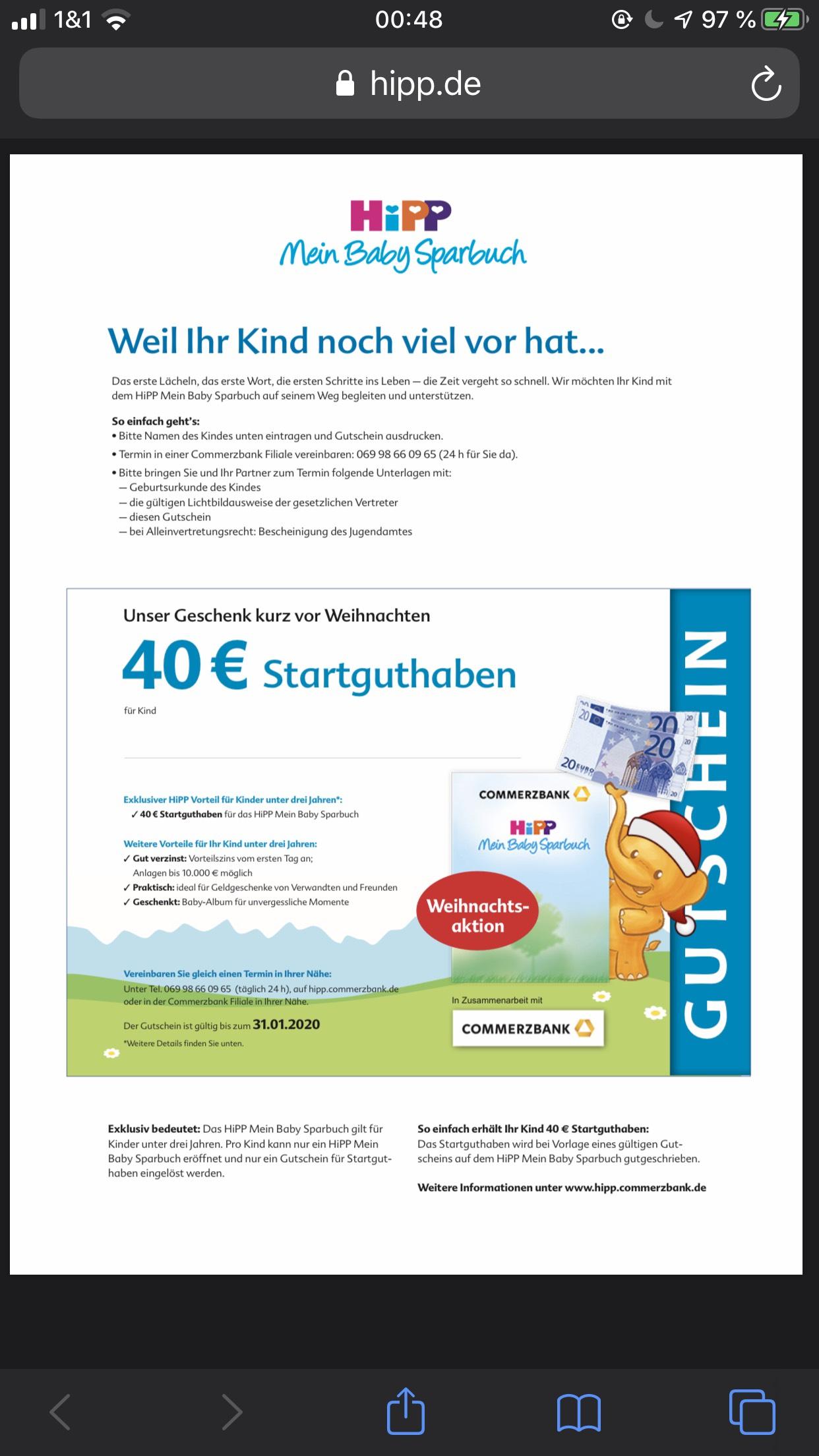 Hipp Babyclub 40€ Startguthaben auf Baby Sparbuch bei Commerzbank (für Kunden 100€ zusätzlich durch Kundenwerbung)