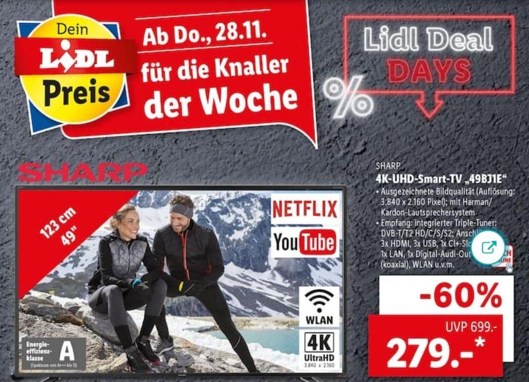[Lidl] Sharp Fernseher 49 Zoll UHD SmartTV Triple Tuner