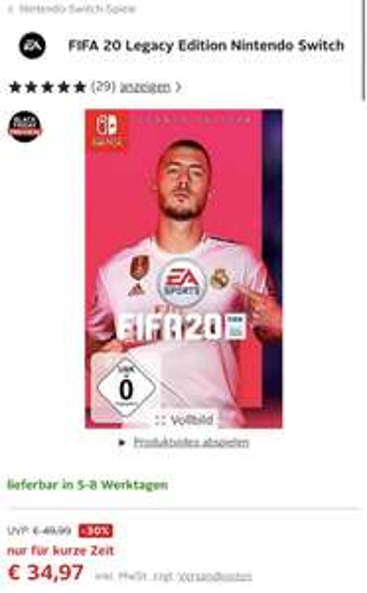 FIFA 20 Legacy Edition Nintendo Switch Otto Neukunden
