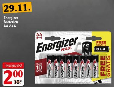 [Lokal Weischlitz(Plauen), Zwickau] GLOBUS OFFLINE, Energizer MAX AA8+4MAX, Alkaline-Batterie, AA (Mignon), 12er-Pack