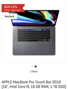 "[SCHWEIZ] MacBook Pro 16"" i9 2.3Ghz 16 GB RAM 8GB Grafik 1 TB SSD (Interdiscount)"