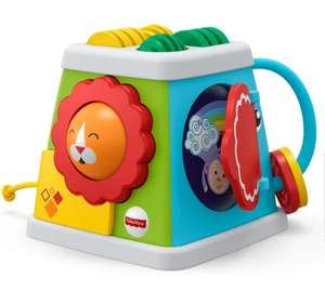 [Amazon Prime] Fisher-Price FYK64 - Safari Entdeckerwürfel mit 5 Spielmöglichkeiten, Baby Spielzeug ab 6 Monaten