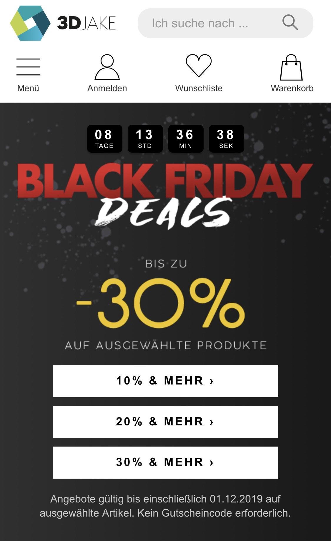 3DJake Black Friday - bis zu 30% auf Filament und Zubehör