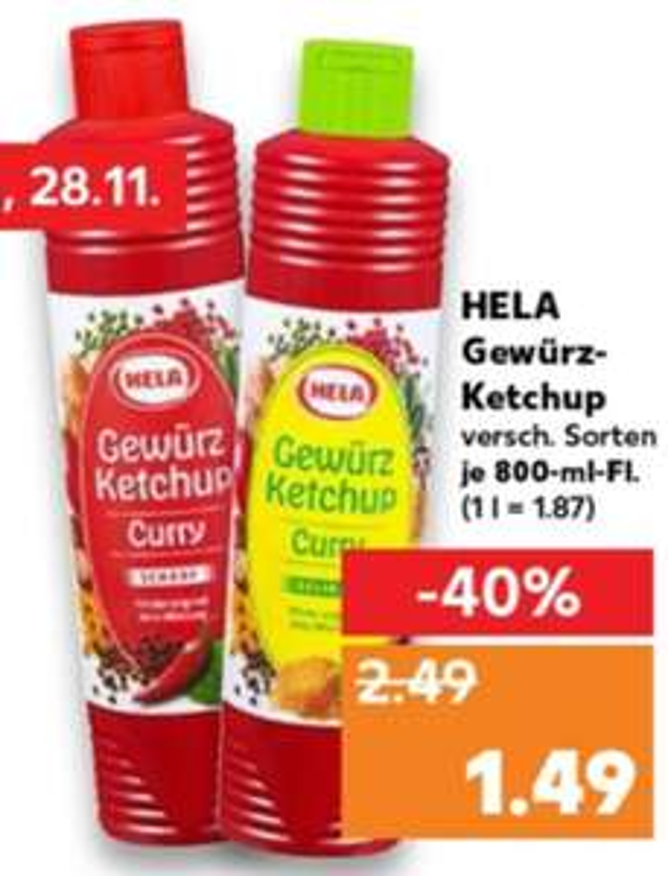 (Kaufland) Hela Gewürz-Ketchup 800ml Flasche 1,49€