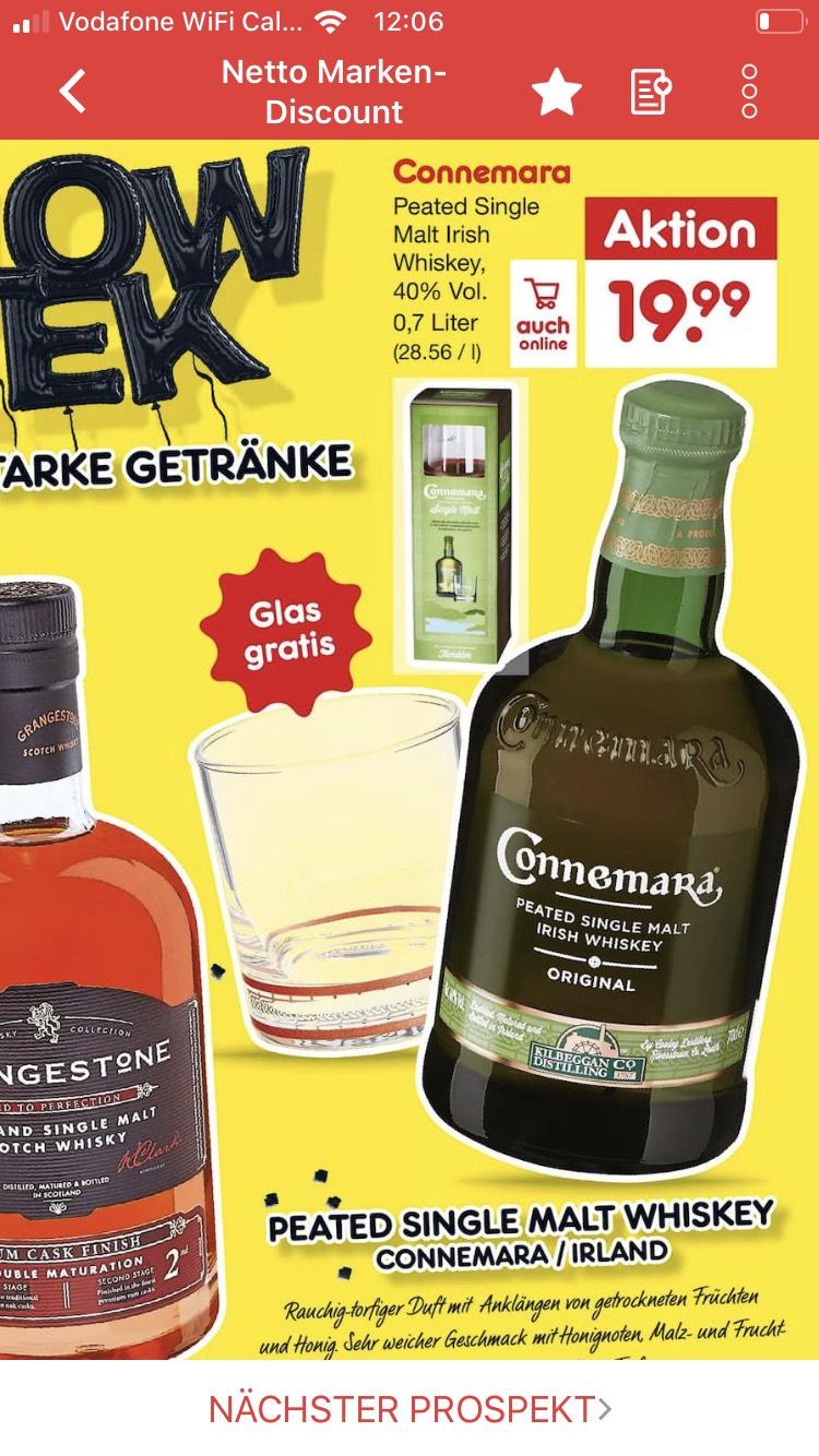 [NETTO MD] Connemara Single Malt Whiskey + Glas (regional auch 15,99€ möglich inkl. 20% Coupon von Titelseite)