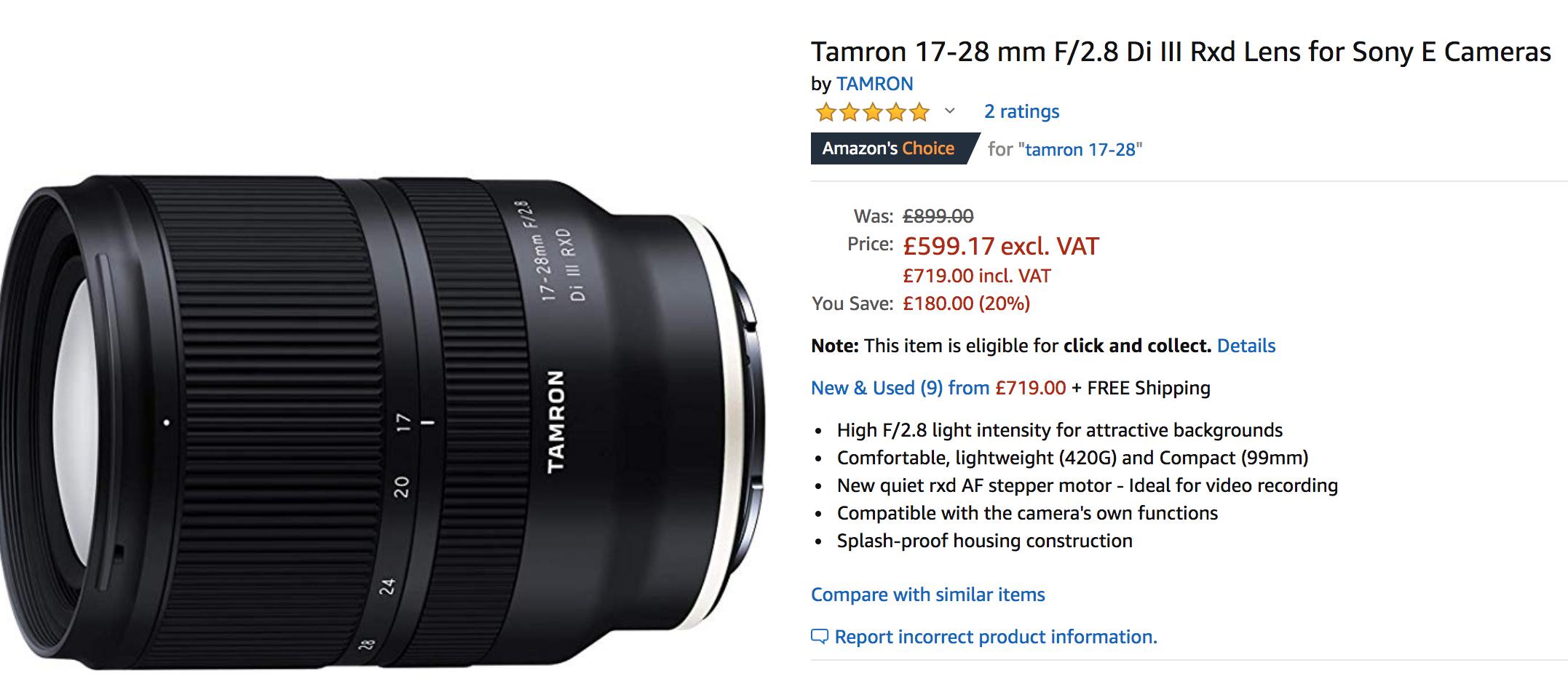 Tamron 17-28 mm 2.8 zum Bestpreis, Objektiv Emount Sony