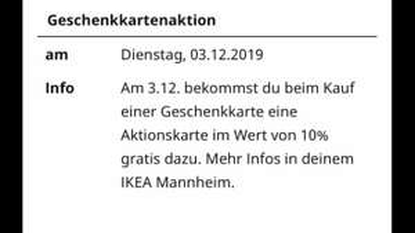 Ikea Mannheim Geschenkkarte 10% Aktionskarte