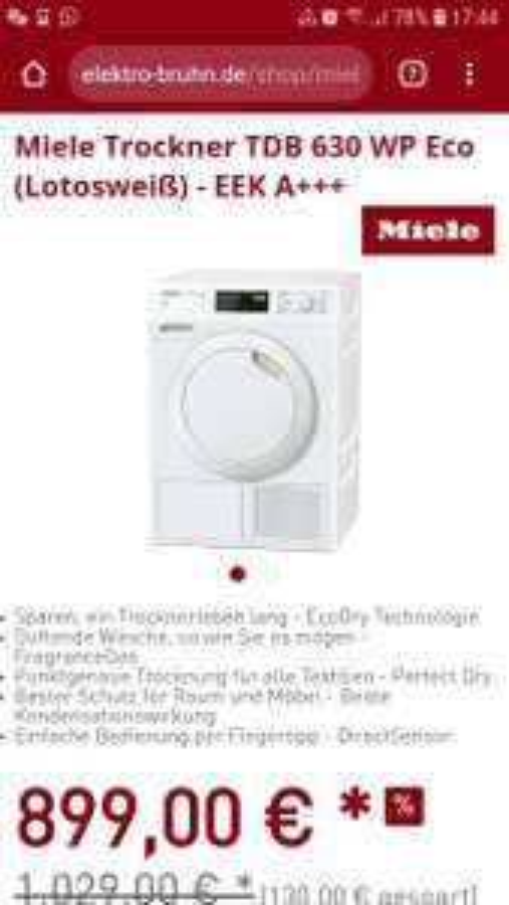 Miele Wärmepumpentrockner TDB 630 WP Eco (Lotosweiß) - EEK A+++