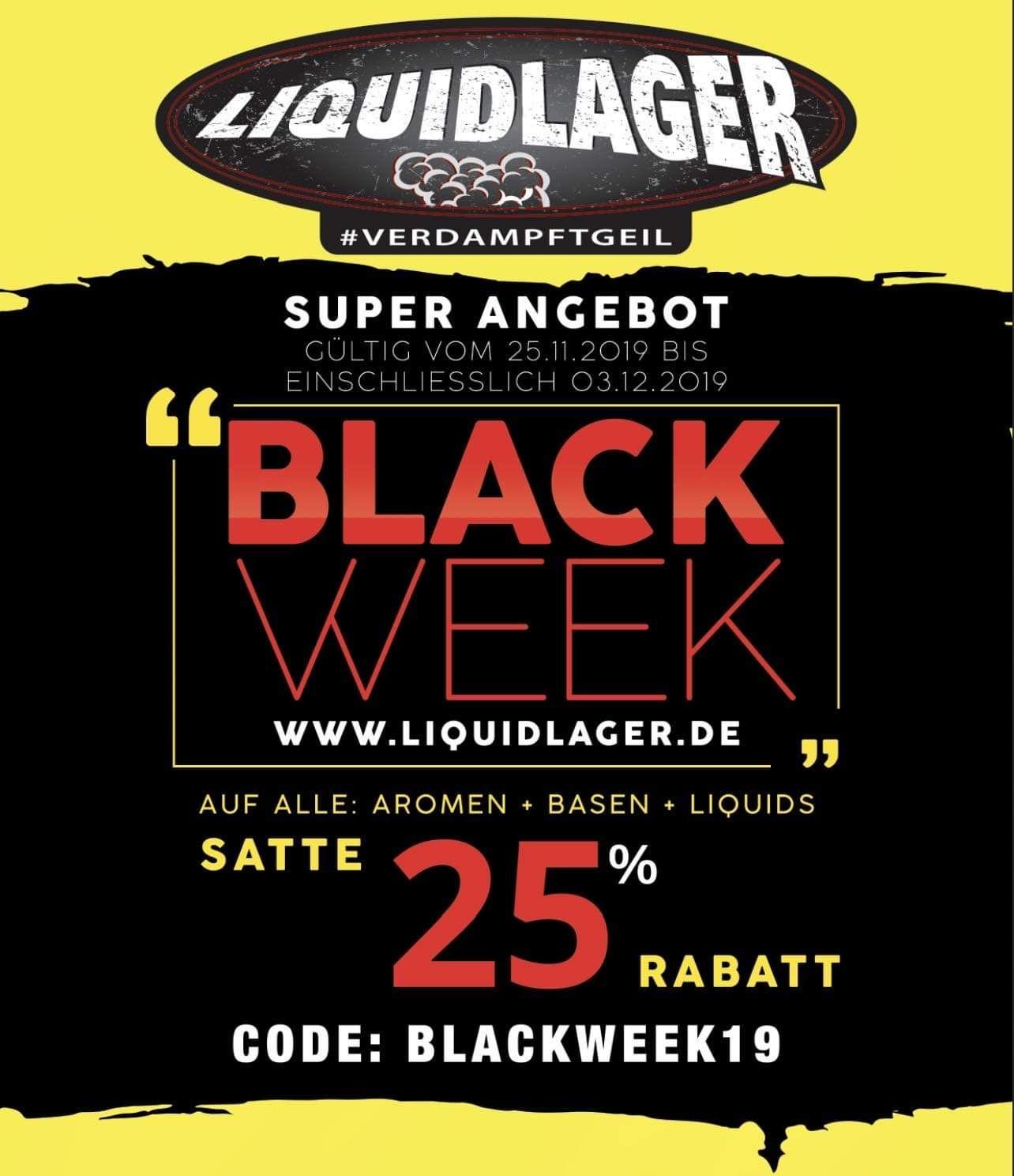 Black Week bei Liquidlager mit 25% auf Flüssigkeiten