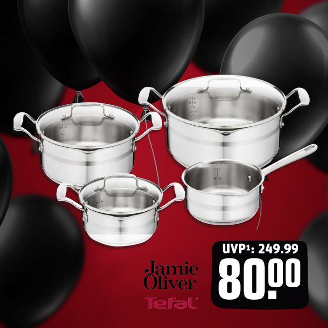 "Jamie Oliver Tefal Topf-Set ""H804S7"" (Kasserolle Ø16 cm, Kochtopf mit Deckel Ø16, 20, 24 cm, Induktionsgeeignet) [Rewe.de + teiln. Märkte]"