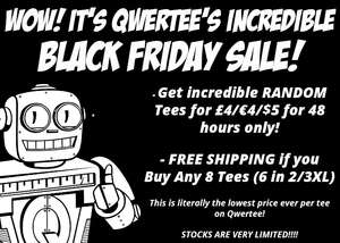 [Qwertee] Black Friday Sale - Random T-Shirts 4€, Sweatshirts 15€, Hoodies 19€