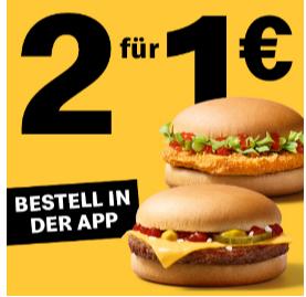 2 Cheeseburger oder 2 Chickenburger für zsm. 1 € bei McDonald's & 10% Rabatt auf alles außer Non-Food & Gutscheine