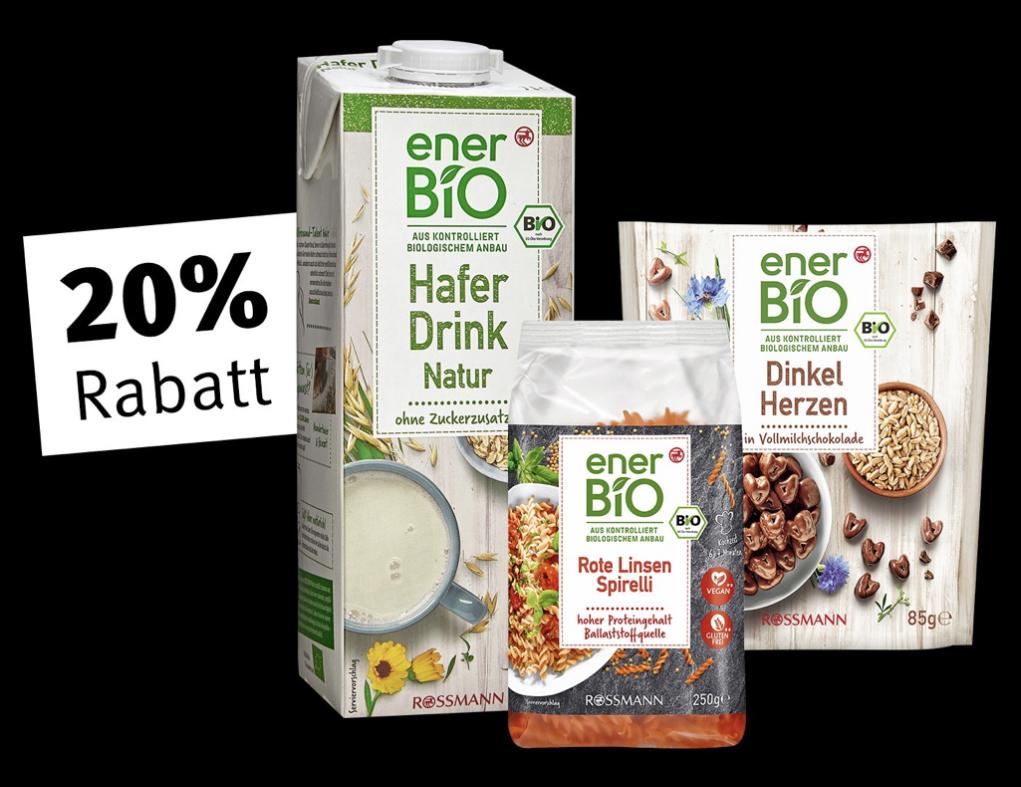 Rossmann: 20% Rabatt auf alle EnerBio Produkte in der App und im Onlineshop - In der Filiale mit 10% kombinierbar - nur heute!