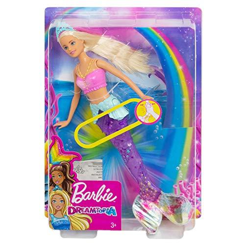 Barbie Dreamtopia Glitzerlicht Meerjungfrau mit blonden Haaren, Flosse mit Schwimmbewegungen und Licht, Spielzeug für die Badewanne