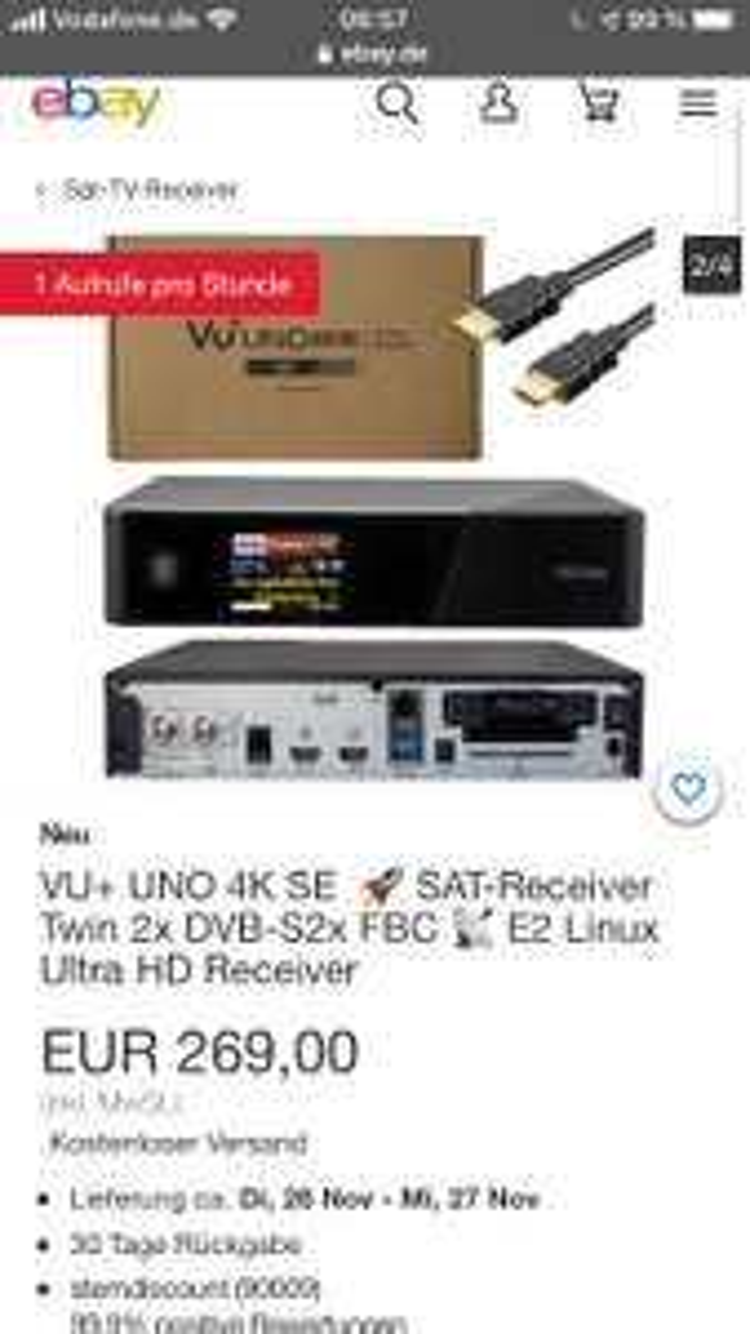 VU+ UNO 4K SE SAT-Receiver Twin 2x DVB-S2x FBC E2 Linux