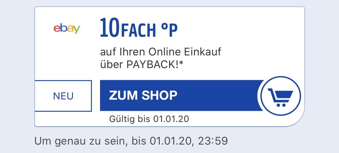 eBay 10fach Payback Punkte bis 01.01.20 [personalisiert]