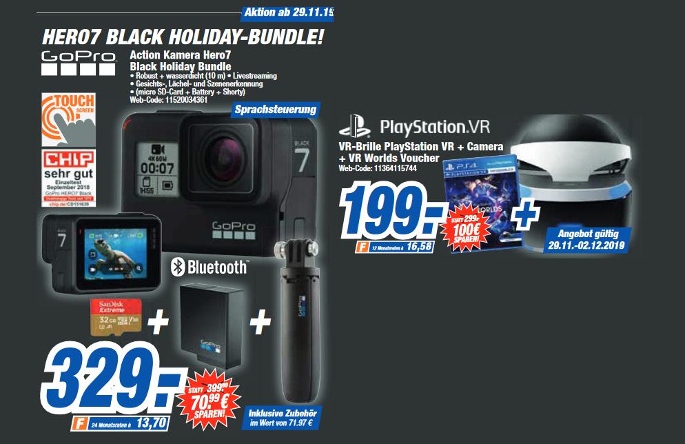 [lokal: hem-expert ab 29.11. / evtl. bundesweit] Sony PlayStation VR V2 + Kamera + VR Worlds =199€   GoPro HERO7 Black Holiday Bundle =329€