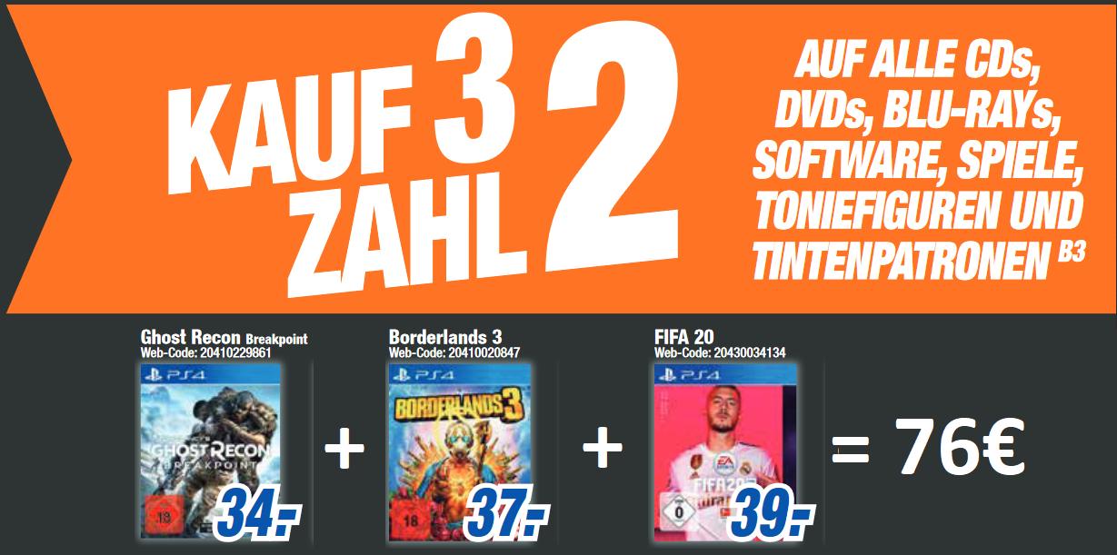 [lokal: HEM expert 29.11. - 02.12.] Kauf 3 zahl 2 für alle Tonies & Spiele: z.B. Ghost-Recon Breakpoint + Fifa 20 + Borderlands 3 für 76€