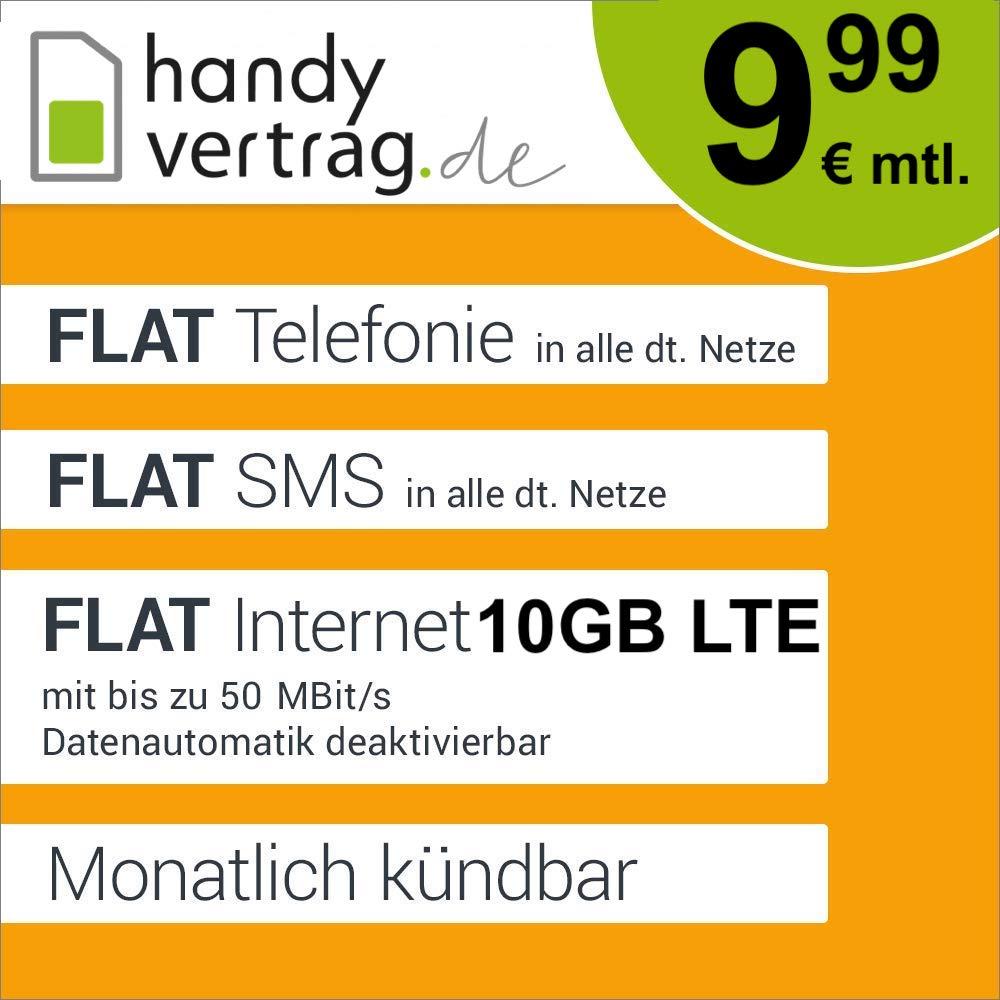 Handyvertrag.de Tarif mit 10GB LTE, Allnet- & SMS-Flat für mtl. 9,99€ + 0€ AG (monatlich kündbar, o2-Netz)