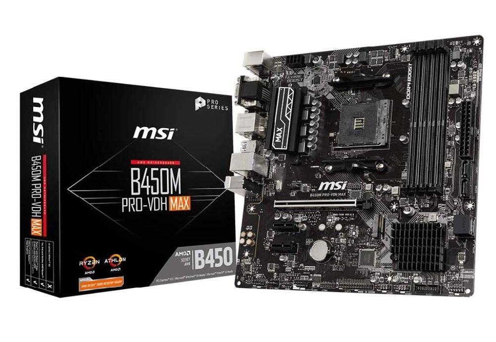 [Amazon.es] MSI B450M Pro-VDH MAX, µATX, AM4, 6 Phasen, 4xDDR4 bis 3866Mhz, 4xUSB 3.0, 4xUSB 2.0, RGB-Header, Realtek ALC892 (Vorbestellung)