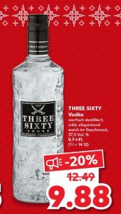 [Kaufland] Three Sixty Wodka 0.7 l