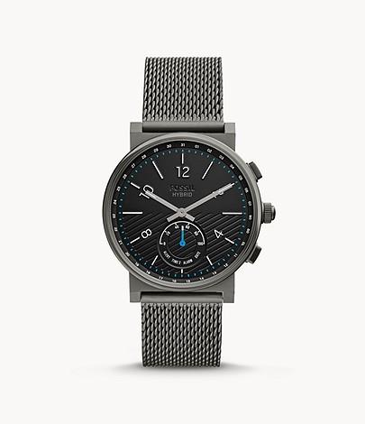 Cyber Monday jetzt mit zusätzlichen 30% Rabatt auf alles im Outlet bei Fossil, z.B. Hybrid Smartwatch 'Barstow' Edelstahl grau