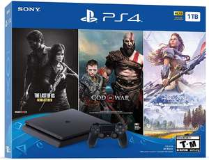 PlayStation 4 Slim 1TB + God of War + Horizon Zero Dawn Complete + The Las of Us für 233,73€ inkl. Versand (Amazon.com)