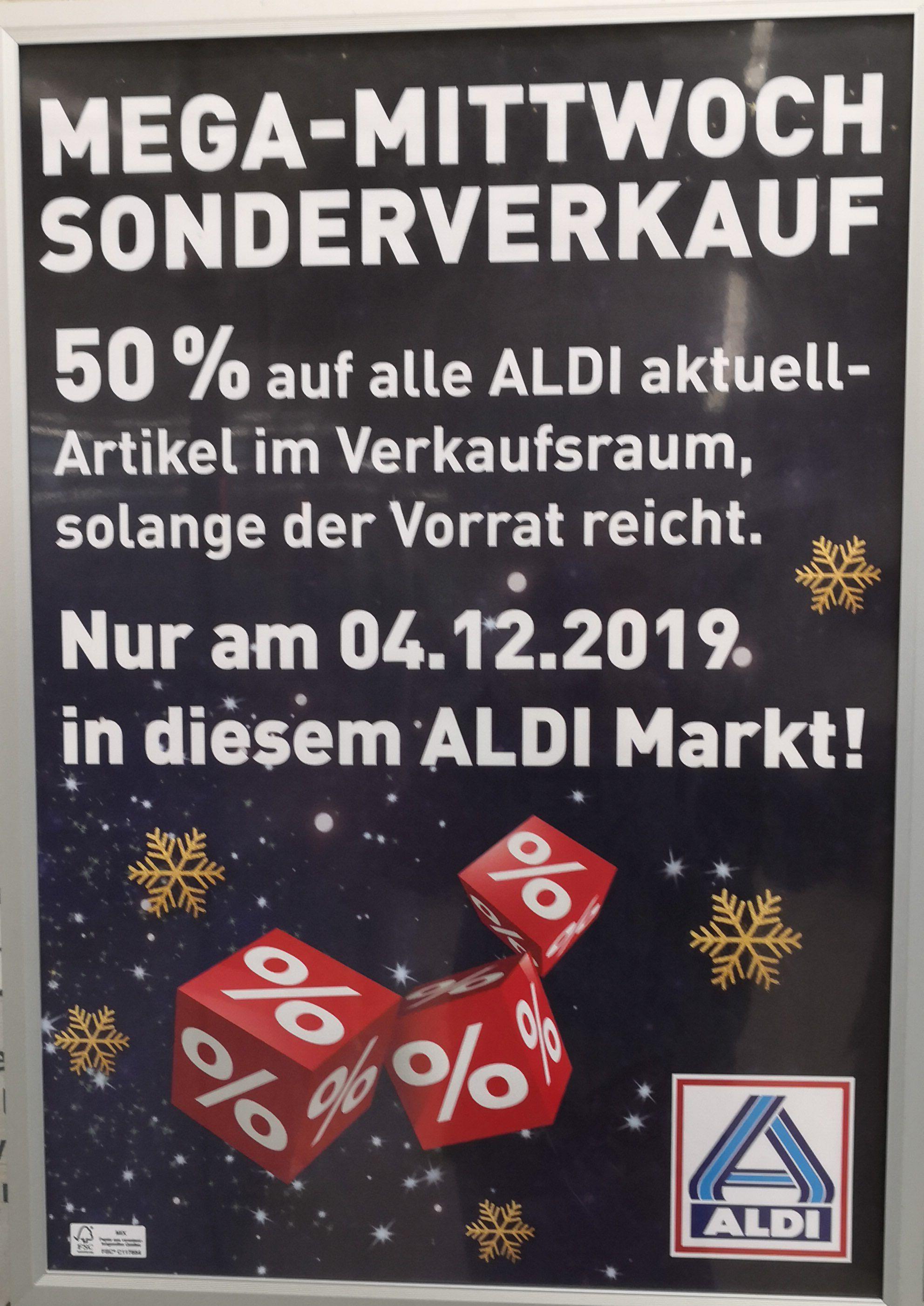 (Lokal, Münsterland - Ahaus, Vreden,Stadtlohn Osnabrück, Münster... ) am Mittwoch den 04.12. , 50% auf Aldi Aktuell aus dem Verkaufsraum.
