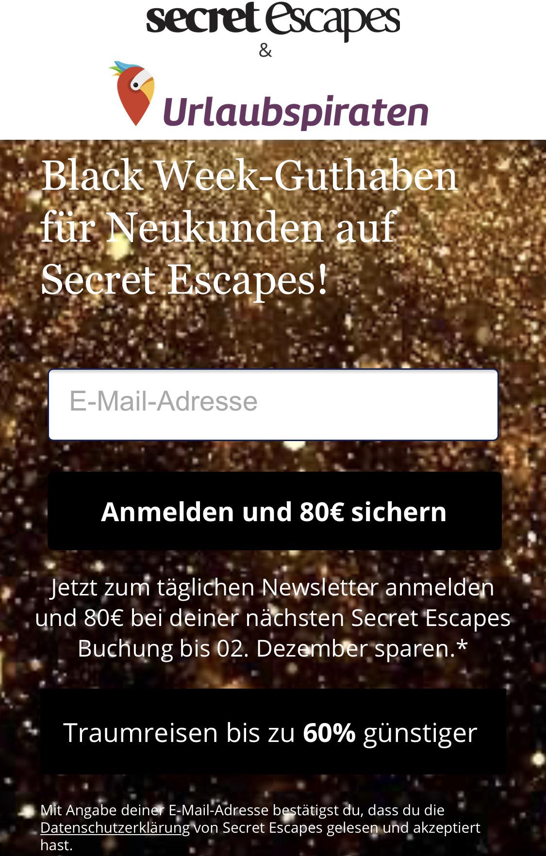 80€ auf die nächste Hotelbuchung über secret escapes