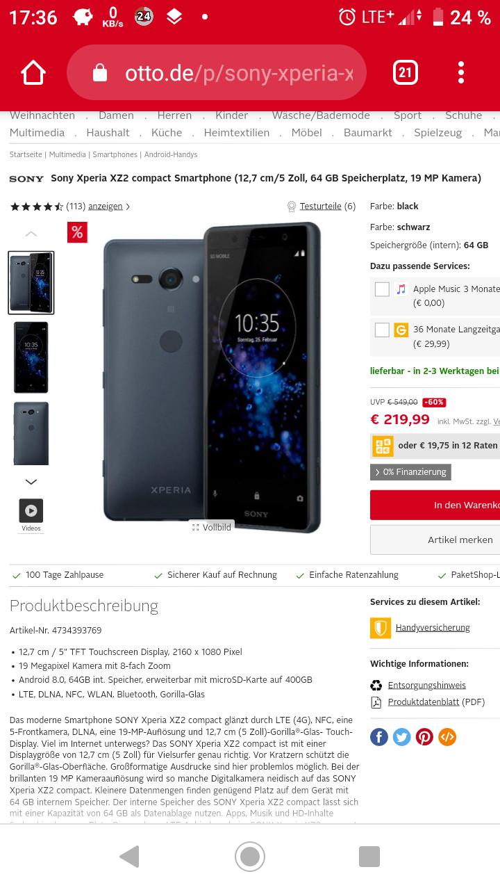 Sony XZ2 Compact Dual SIM schwarz für 219 Euro bei Otto
