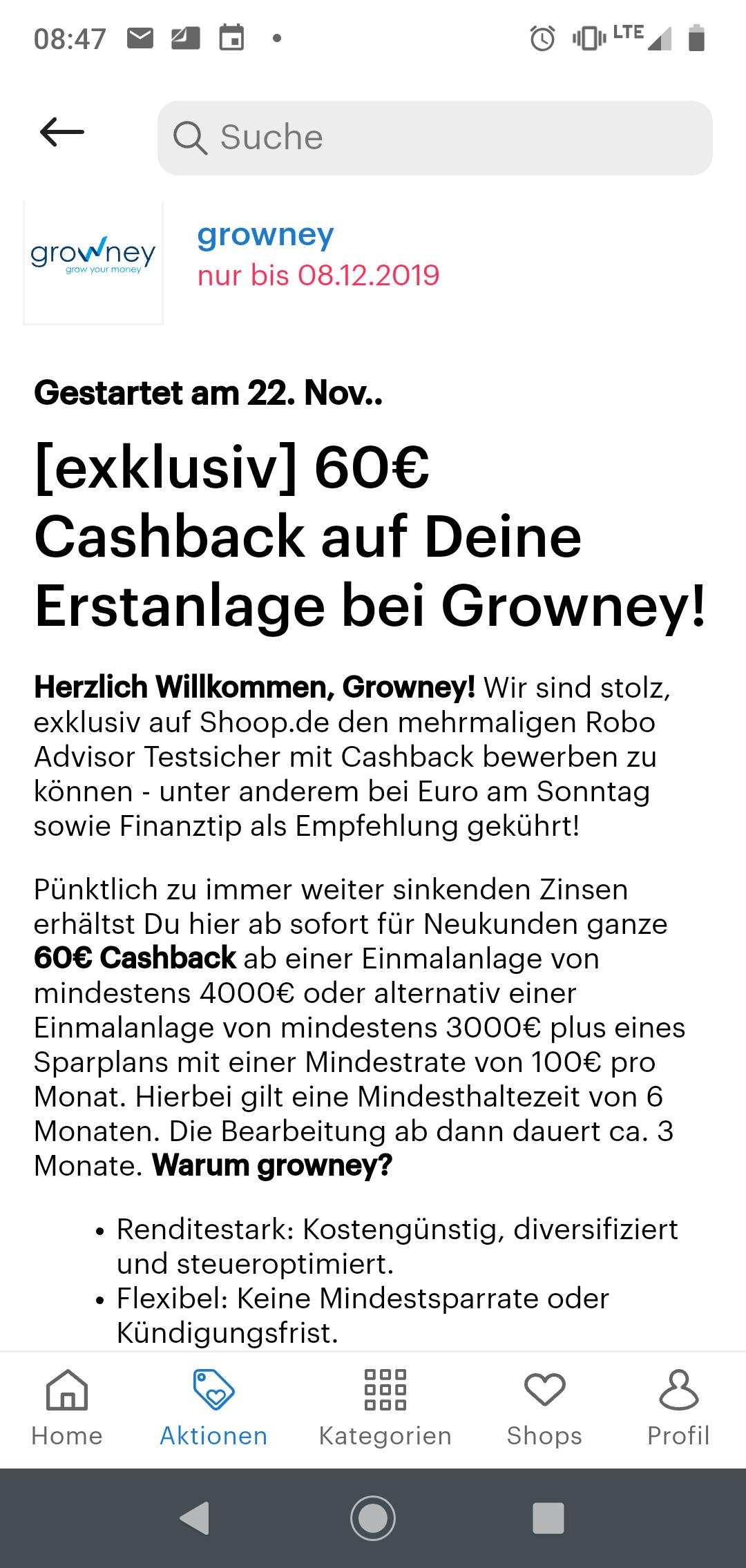 Robo Advisor: bei Growney 60 Euro Cashback ab 3k Erstanlage
