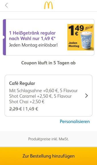 McDonald´s (App Bug) Extras beim Kaffee / Heißgetränk gratis McDonalds