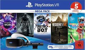 Playstation VR Mega Pack 2 (VR-Brille, Camera, VR Worlds, Skyrim, Astro Bot, Resident Evil 7, Everybody's Golf VR) für 192,41€ (Otto)