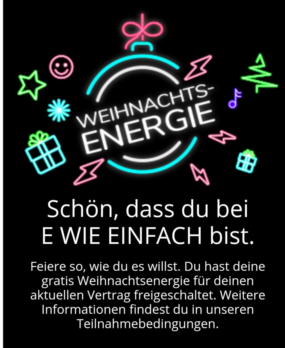E wie Einfach App Weihnachtsgeschenk gratis 30 kWh Strom oder 150 kWh Gas