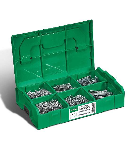 SPAX Montagekoffer (L-BOXX Mini passend für Bosch), T-STAR plus, Senkkopf Schrauben, 703 Stück inkl. 3 SPAX BITs T20