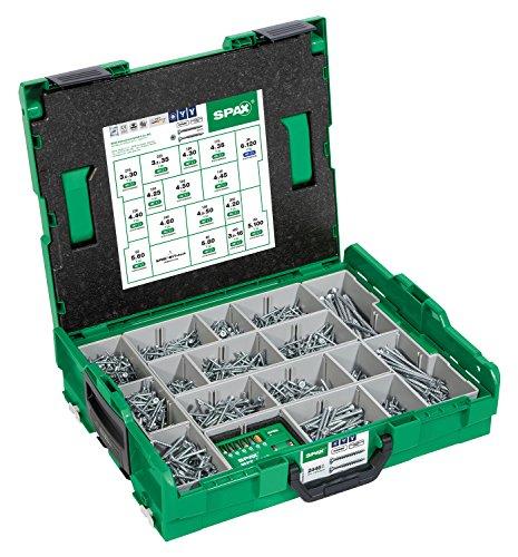 SPAX Montagekoffer (L-BOXX Groß passend für Bosch) Senkkopf Schrauben, 16 Abmessungen, 2446 Stück, inkl. SPAX BITcheck