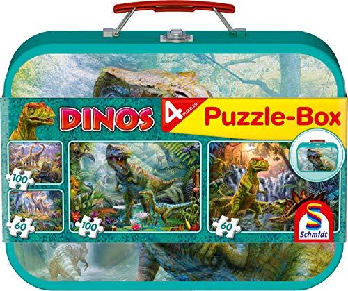 [Amazon Prime] Schmidt Spiele Puzzle 56495 Dinosaurier, Puzzle-Box im Metallkoffer, 2x60 und 2x100 Teile - viele Weitere zu dem Preis -