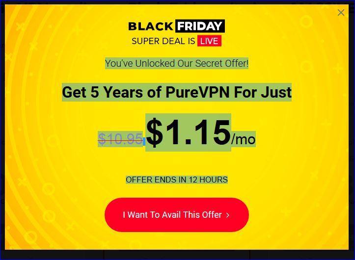 PureVPN 5 Jahres Deal - 0,92$ pro Monat - mit GutscheinCode 5 Jahre VPN für ~ 50€