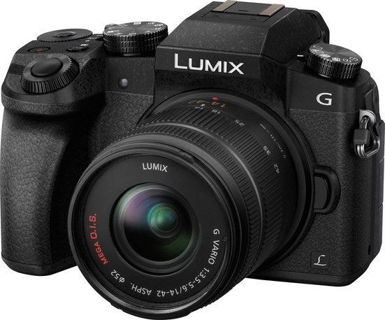 Panasonic Lumix DMC-G70KAEG-K Spiegellose Systemkamera/DSLM im Kit Inkl. Tasche und 32GB Speicherkarte