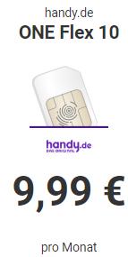 [handy.de] 10GB- SMS- und Telefonie-Flat 9,99€ (monatlich kündbar) im O2 Netz, 0€ Anschluß, 10€ Rufnummernmitnahmebonus