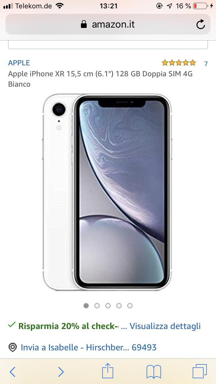 IPhone XR 128 GB white weiß wie neu Amazon IT WHD
