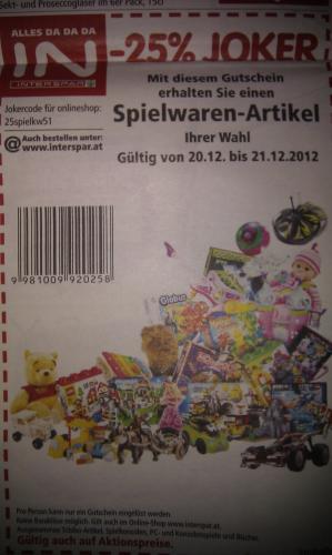 20.12.-21.12. -->  25% Rabatt auf Spielwaren bei Interspar.at