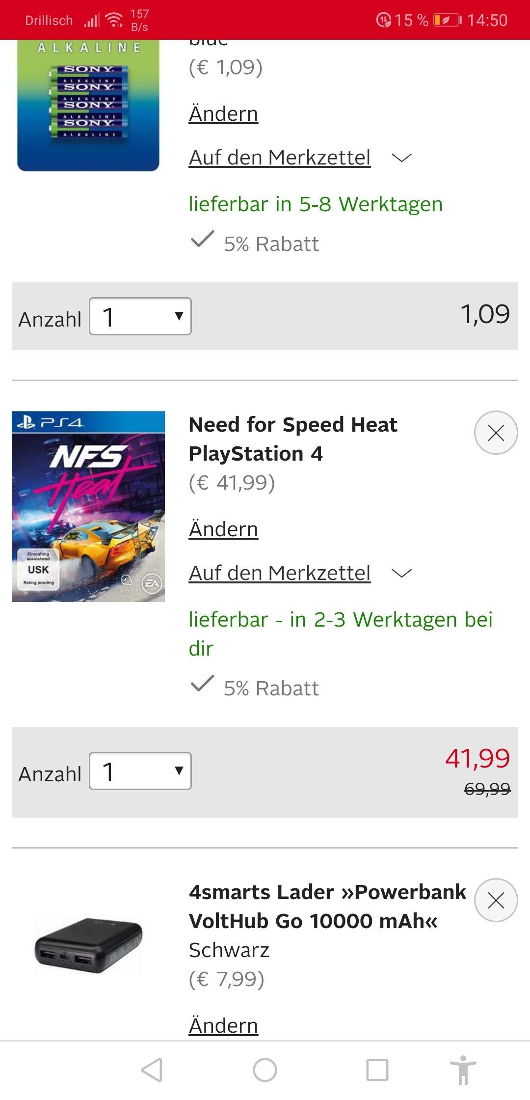 Need for speed heat ps4 plus powerbank +Neukundenrabatt